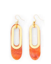 Jaeger Isla Coral Oval Earrings Orange