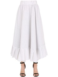 Antonia Goy Striped Cotton Poplin Skirt