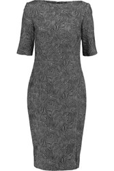 Lela Rose Cotton Blend Jacquard Dress Black