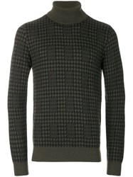 The Gigi Houndstooth Roll Neck Jumper Wool S Green