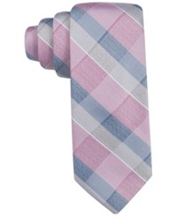 Ryan Seacrest Distinction Men's Lakeview Plaid Slim Tie Only At Macy's Silver Pink
