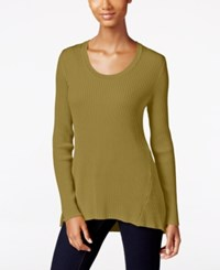 Styleandco. Style Co. Ribbed Scoop Neck Sweater Only At Macy's Olive Moss