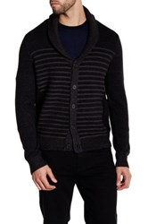 Kenneth Cole Wool Blend Striped Shawl Collar Sweater Black