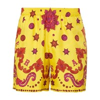 Versace Striped Silk Shorts Giallo Stampa