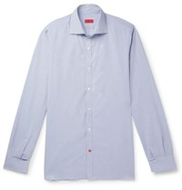 Isaia Slim Fit Cutaway Collar Striped Cotton Shirt Blue