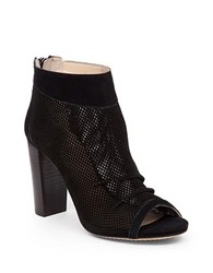 Vince Camuto Cosima Perforated Suede Ankle Boots Black