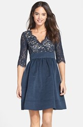 Petite Women's Eliza J Lace And Faille Dress Navy