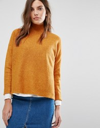 Warehouse Ribbed Boxy Turtle Neck Jumper Mustard Orange