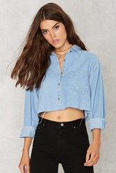 Nasty Gal After Party Vintage Edgefield Shirt Cropped