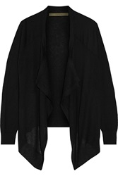 Enza Costa Paneled Cashmere Cardigan Black