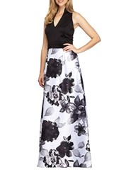 Alex Evenings Floral Print Ballgown Black White