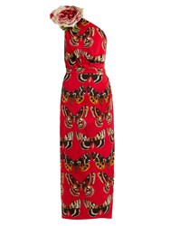 Dolce And Gabbana Rose Motif Butterfly Print Silk Charmeuse Dress Red Print