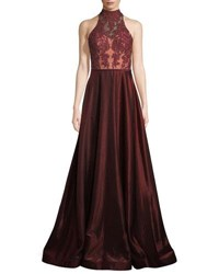 La Femme Two Tone Sleeveless Satin Ball Gown Dark Red