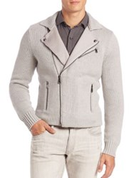 Ralph Lauren Black Label Wool Moto Cardigan Grey