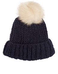 Barneys New York Women's Pom Pom Embellished Hat Navy