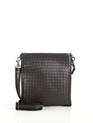 Bottega Veneta Borsa Intrecciato Leather Crossbody Bag Nut Brown