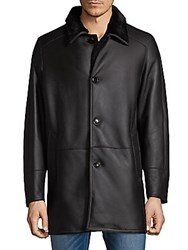 Saks Fifth Avenue Shearling Collar Leather Jacket Brown