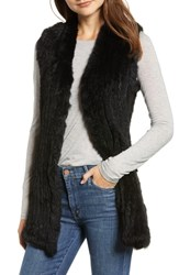 Love Token Genuine Rabbit Fur And Knit Vest Black