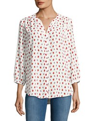 Nydj Strawberry Print Button Front Blouse Red