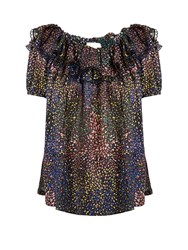 Chloe Abstract Print Ruffle Trimmed Top Navy Multi