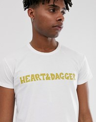 Heart And Dagger Slim Fit T Shirt With Branding White