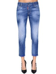 Dsquared Twiggy Mid Rise Cropped Denim Jeans Blue