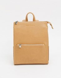 French Connection Faux Leather Oversized Zip Backpack Stone
