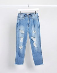 Hollister Distressed Mom Jeans Blue
