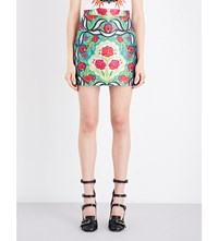 Gucci Floral Embroidered Knitted Skirt Sapphire P.Green