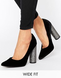New Look Wide Fit Pointed Glitter Block Heel Black