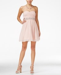 Trixxi Juniors' Strapless Embellished Empire Waist Dress Blush