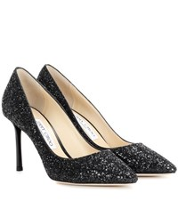 Jimmy Choo Romy 85 Glitter Pumps Black