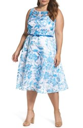 Gabby Skye Plus Size Women's Floral Organza Fit And Flare Dress