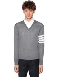 Thom Browne Wool Knit V Neck Sweater Med Grey