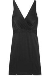 Rachel Zoe Norah Wrap Effect Satin Crepe Dress Black