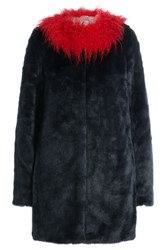 Shrimps Faux Fur Coat With Contrast Collar Multicolor
