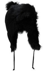 Karl Donoghue Pompom Embellished Paneled Shearling Hat Black