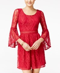 Amy Byer Bcx Juniors' Bell Sleeve Lace Dress Berry