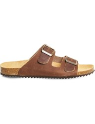 Office Hype 2 Double Strap Leather Sandals Brown Leather