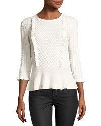 1.State Cable Front Peplum Sweater White