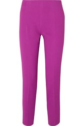 Antonio Berardi Cropped Crepe Slim Leg Pants Purple