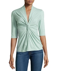 Lafayette 148 New York Jersey Twisted V Neck Tee Sea Spray