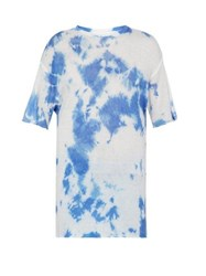 The Elder Statesman Tie Dyed Cashmere And Silk Blend T Shirt Blue