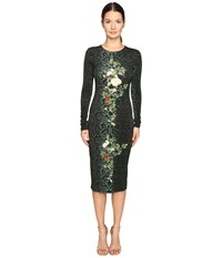 Preen Amos Printed Jersey Dress Emerald Python