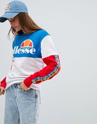 Ellesse Oversized Sweatshirt With Rainbow Logo Taping In Colour Block White Multi