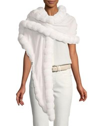 Loro Piana Oval Crystal Drops Stole W Chinchilla Fur Trim White