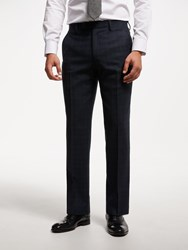 John Lewis Wool Check Tailored Suit Trousers Navy