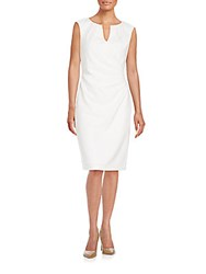 Saks Fifth Avenue Black V Neck Sheath Dress White