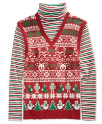 American Rag Men's Family Portrait Sweater Only At Macy's Worn Red