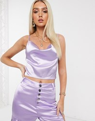 Parisian Satin Crop Cami Top In Lilac Purple